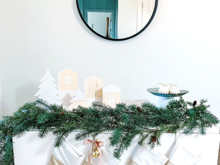 Create A Serene Christmas Scene With Beige, White, and Natural Decor.