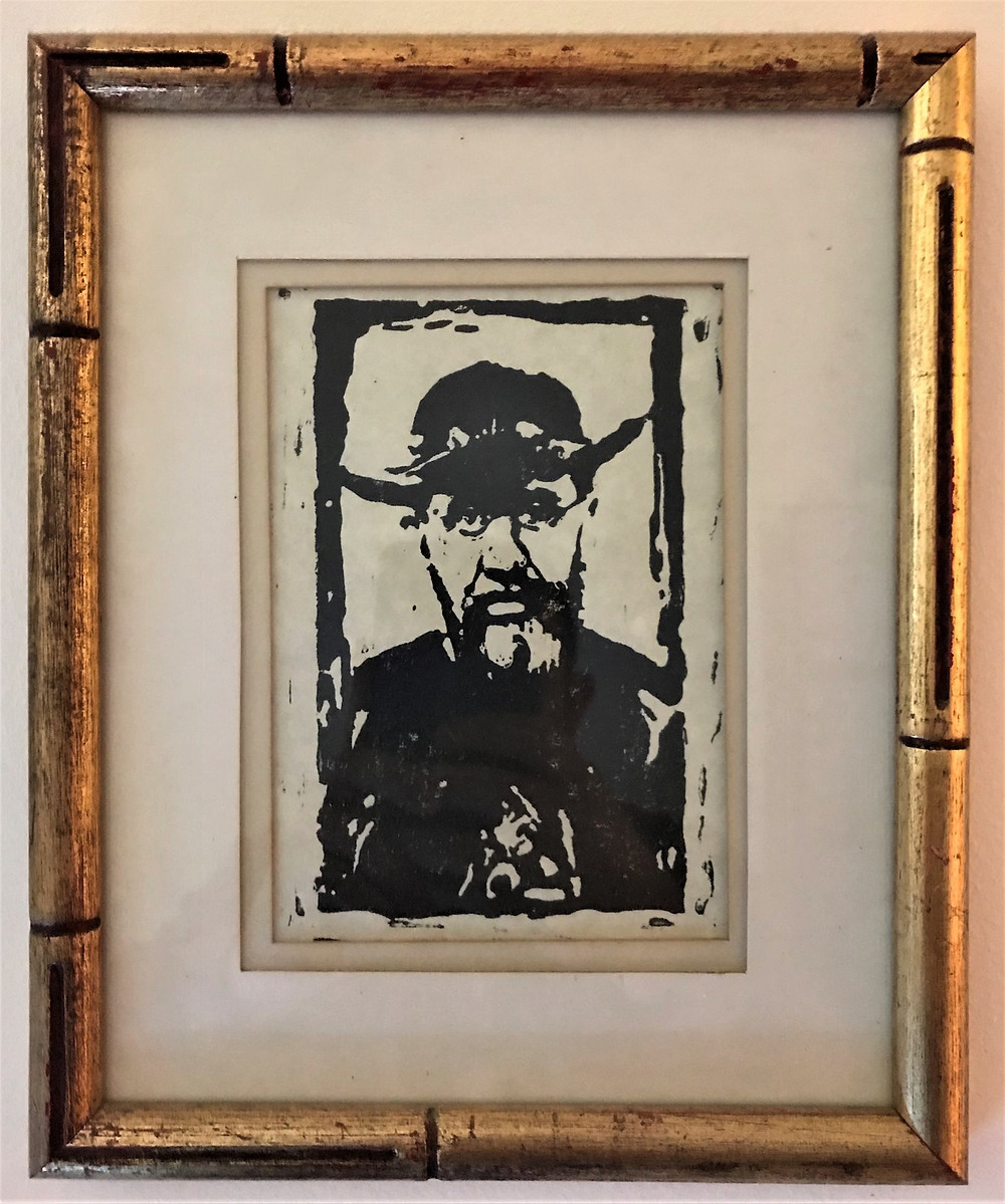 Damien of Molokai, linoleum block print. Original art by Br. Damien Joseph SSF