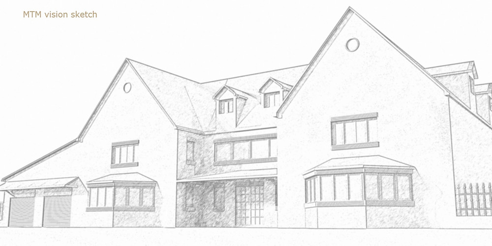 Sketched Initial proposal for a new residential unit in Essex, UK