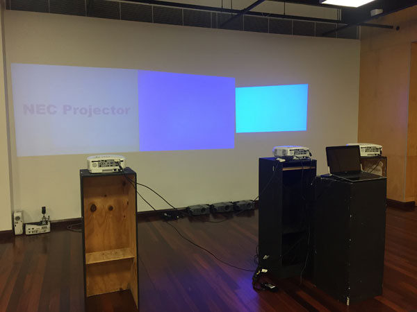 The second set of three projectors, not quite set up yet