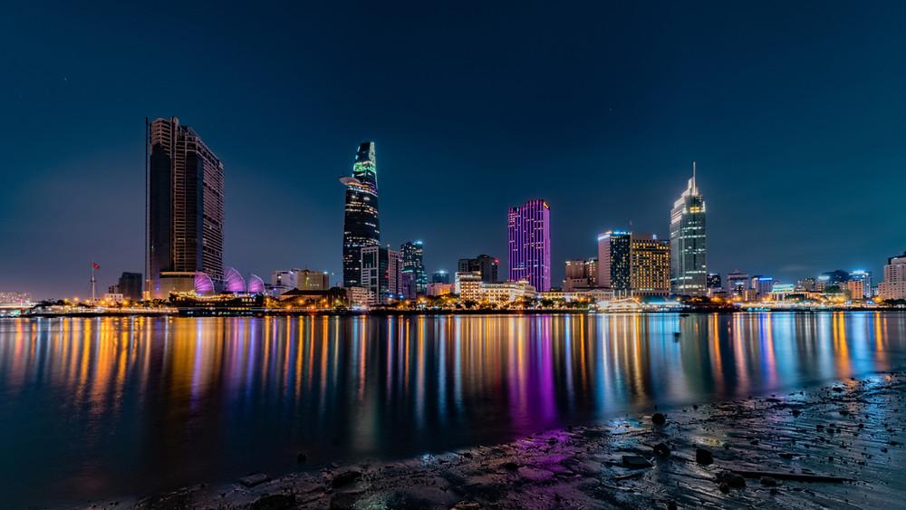 Night exposure of Saigon skyline from across the river