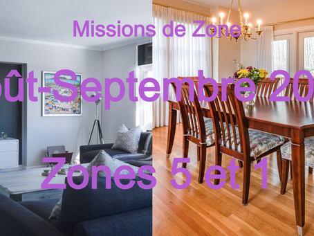Zones : Missions semaine 36 - Zones 5 et 1