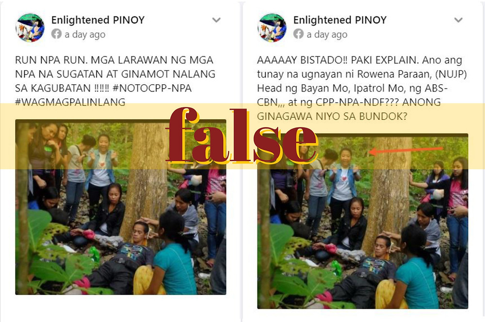 Screenshots of Facebook posts that misappropriated 2013 media safety training photo to red-tag a female Filipino journalist