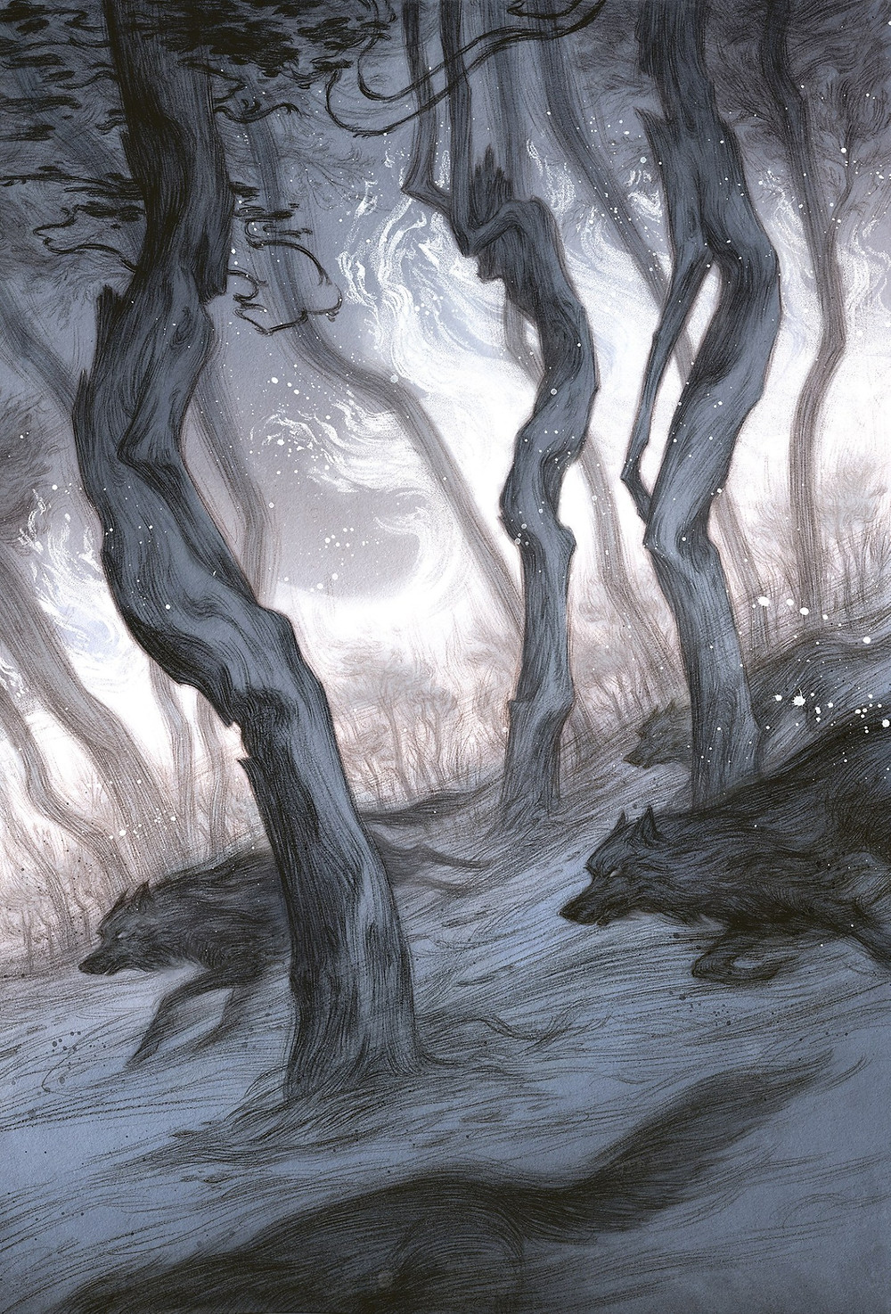 gray wolves dash fluidly through a gray forest