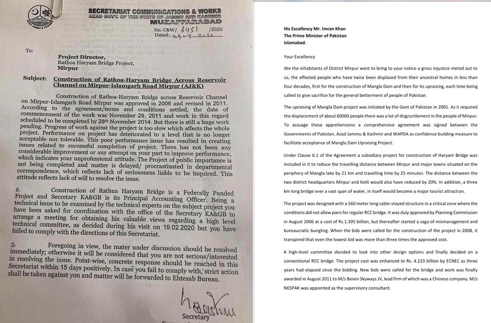 Left to Right: The show cause letter issued to Project Director and letter written to Prime Minister Pakistan by Civil Society. (Online)