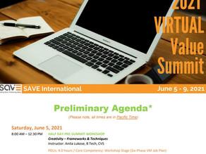 SAVE International 2021 Virtual Value Summit 프로그램 (1차) 공지 Risk(리스크)관련 주제 다수 발표