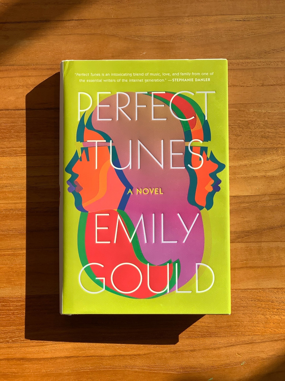 The book Perfect Tunes lays on a table in the sun