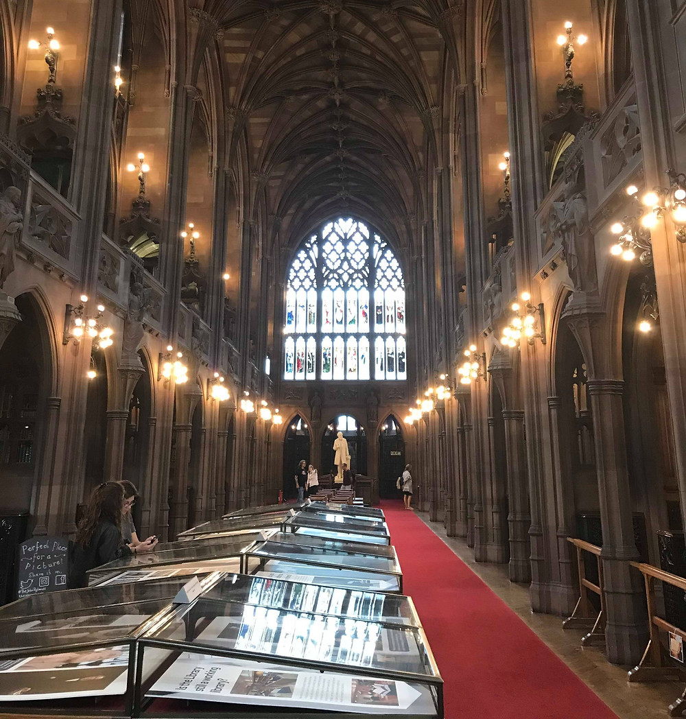 The John Rylands Library from the main hall in Manchester England