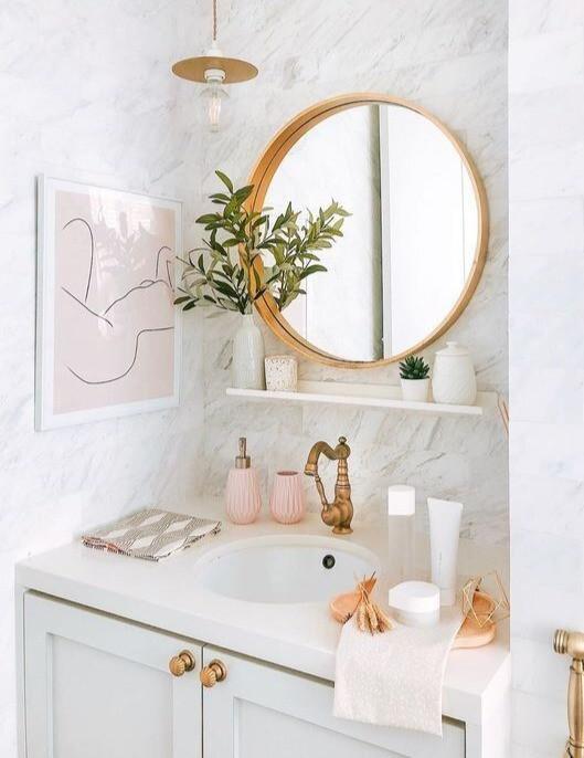 Under-mounte sink. hanging lights over vanity. bathroom interior designs. lakkad works
