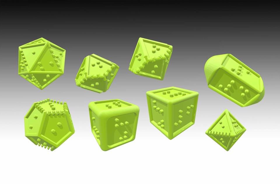 3D rendering of our braille polyhedral dice