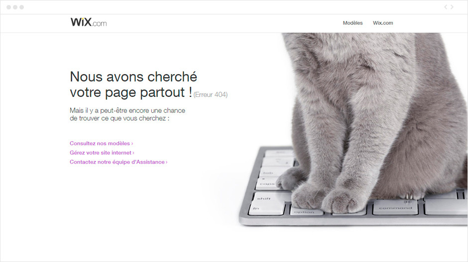 Wix - page erreur 404