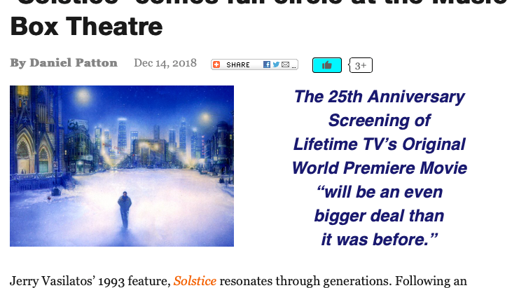 """Reel Chicago covers the 25th Anniversary Screening of """"Solstice"""""""