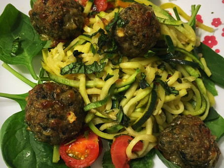 "Goat Cheese Meatballs with Zucchini ""Pasta"""