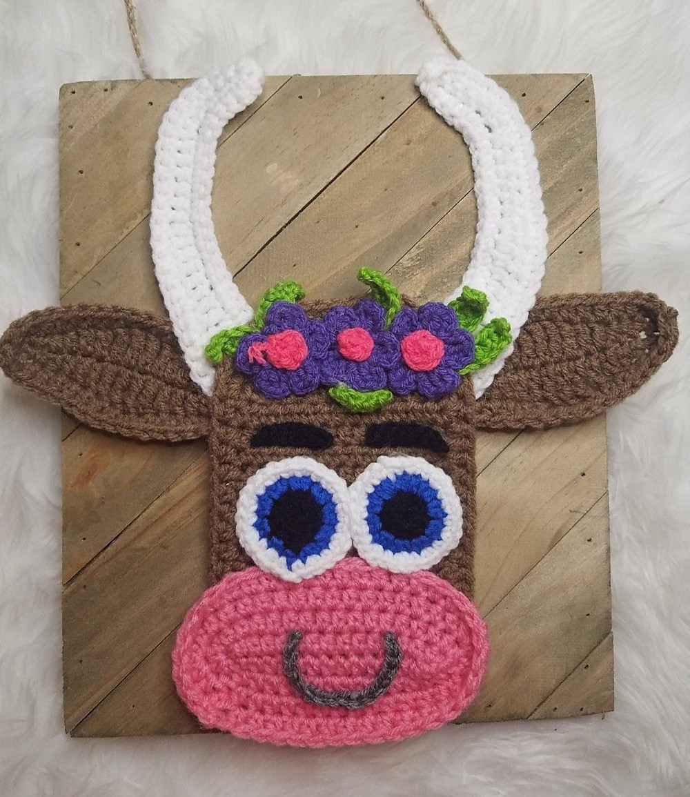 boho bull crochet applique pattern