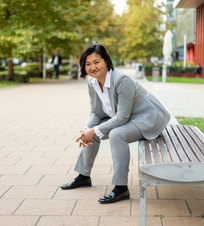 Grey business suit for women