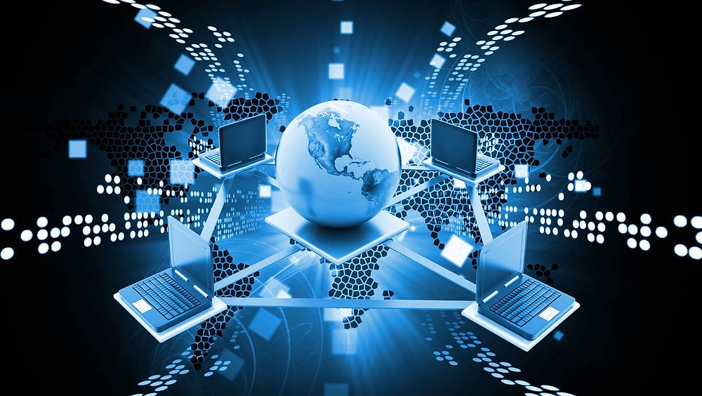 Ilustración sobre tecnología global.