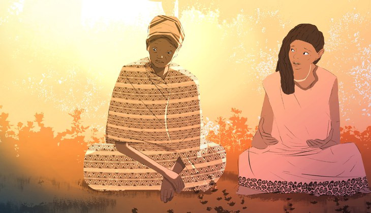 Illustration of two women having a discussion.
