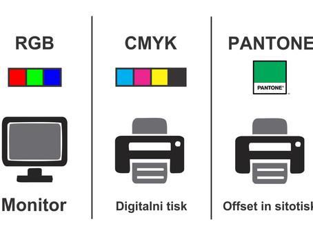 Kakšna je razlika med RGB, CMYK in PANTONE barvami?