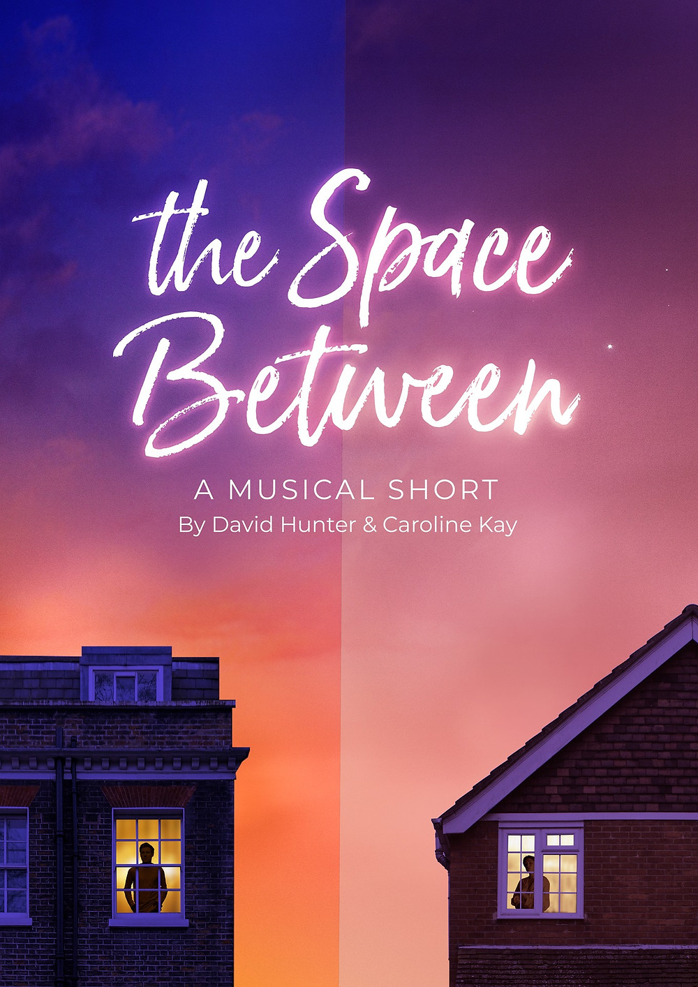 A man and a woman stand in the windows of two separate houses, miles apart. Text at the top reads 'The Space Between.'