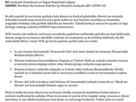 Warbixin Ku Saabsan Talaabada Laga Qaadayo COVID-19