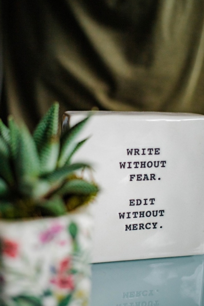 plant beside quote on writing