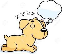 cartoon of dog dreaming