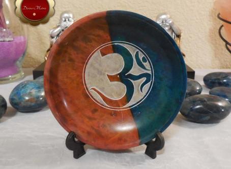 Etched Om Carved Soapstone Smudge Bowl