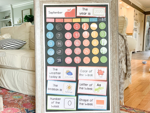 Our Circle Time Calendar and How to Chalkboard Paint a Mirror