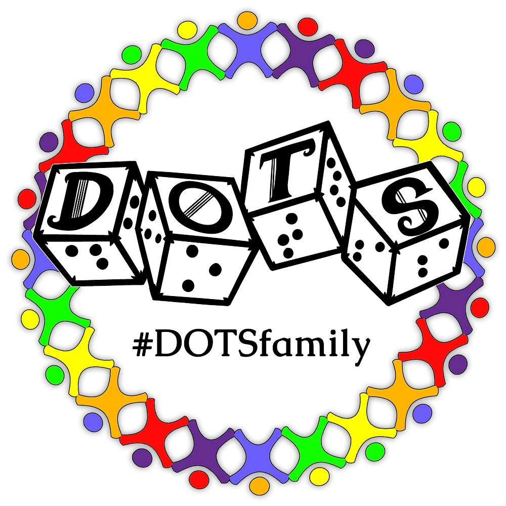Rainbow stick figures in a circle. dots logo of 4d6 in the middle, slightly overlapping the people. dotsfamily hashtag underneath dots logo