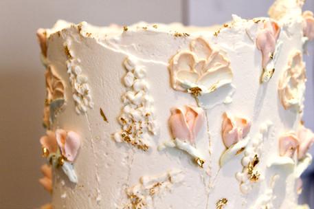 Dairy-free painted floral wedding cake