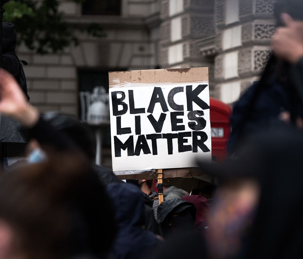 Hand-held sign with 'black lives matter' written on the front and protesters standing around