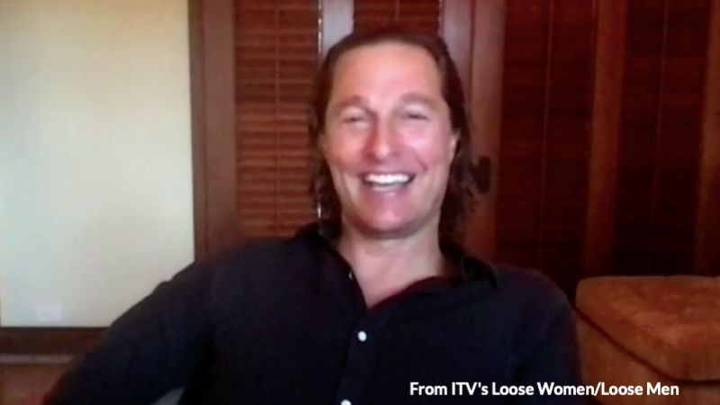 Matthew McConaughey speaks on a Zoom interview to ITV