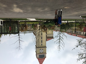 I don't know why the picture is upside down. But anyway, this is currently my favorite because during this time me and my partner for the group project had a lot of fun while practicing our presentations, and we decided to visit the presentation location for a quick look.