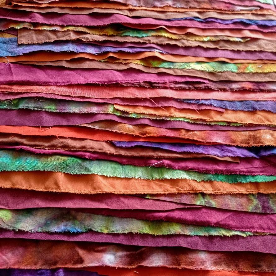 Rainbow fabric strips