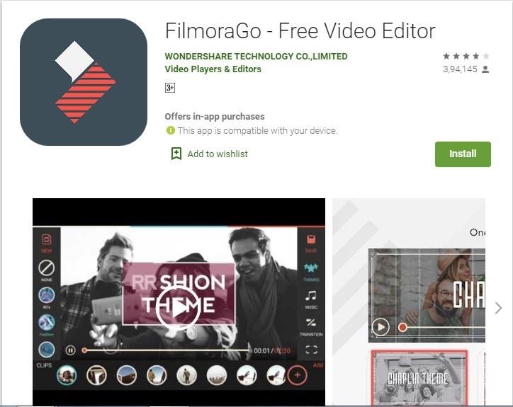 FilmoraGo Video editing App