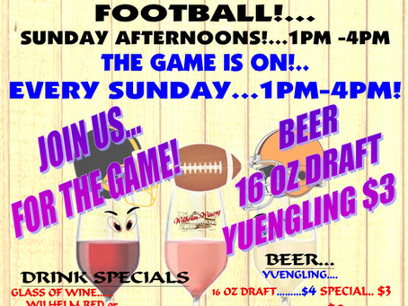 THE GAME IS ON...SUNDAYS 1-4PM
