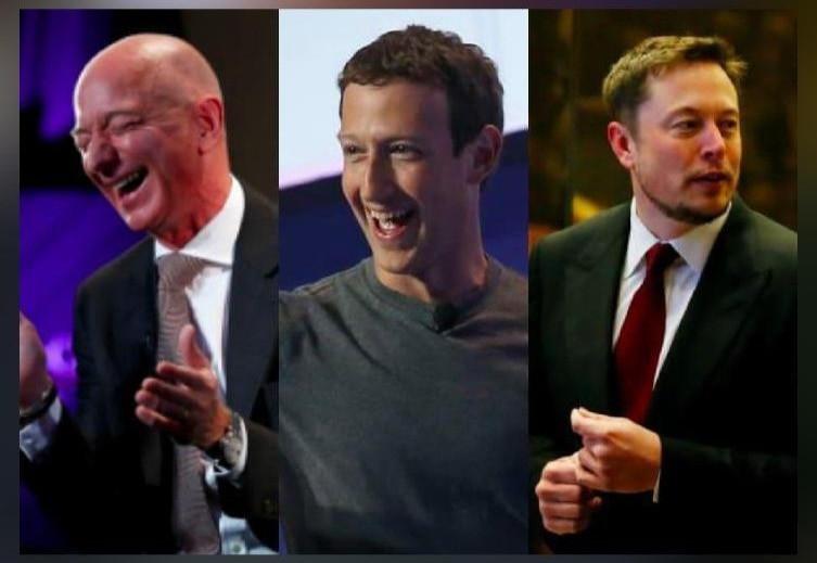 Amazon CEO Jeff Bezos, Facebook CEO Mark Zuckerberg, and Tesla CEO Elon Musk