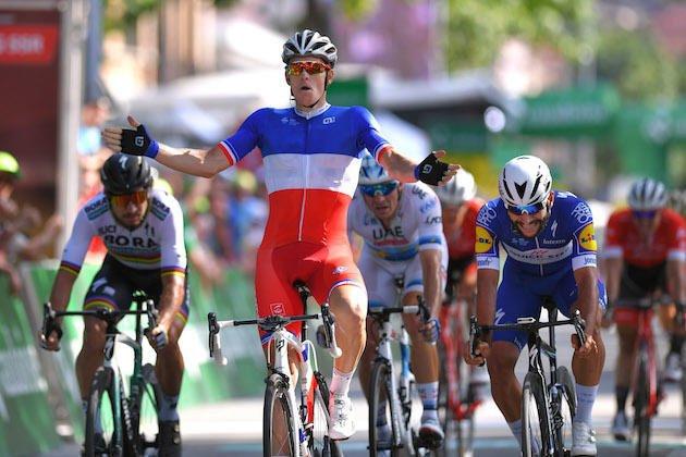Arnaud Démare victorieux à Bellinzona lors de la hutième étape du Tour de Suisse