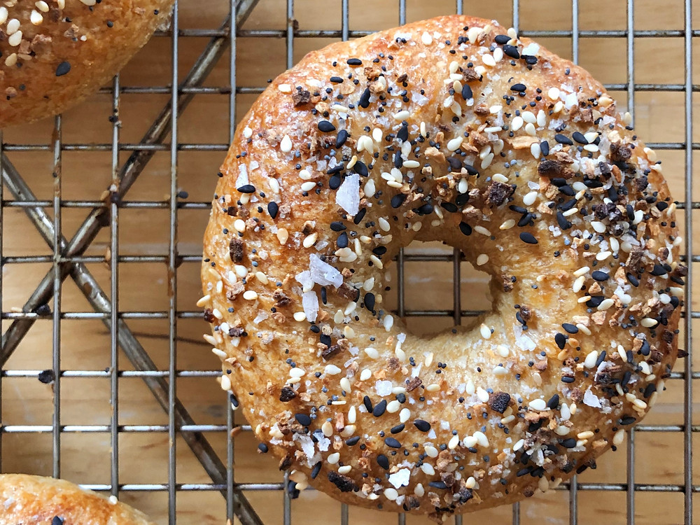 sourdough everything bagels, naturally leavened bagels
