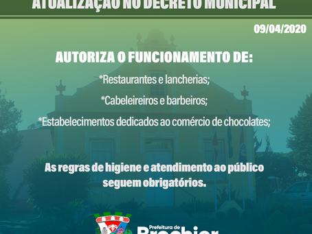 Prefeitura segue decreto estadual flexibilizando funcionamento de alguns segmentos comerciais.