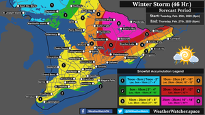 Snowfall Forecast, for Southern Ontario. Issued February 25th, 2020.