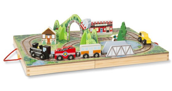 Wooden train sets teach young children to play and plan and think.