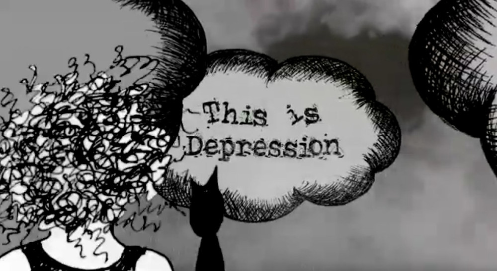 "A black and white animated cloud with the title ""This is Depression"" written across it."