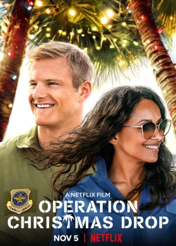 Operation Christmas Drop movie poster featuring Kat Graham and Alexander Ludwig.