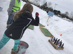 Kids playing games at Winter Carnival