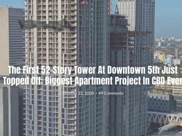 The First 52-story Tower at Downtown 5th just topped off.