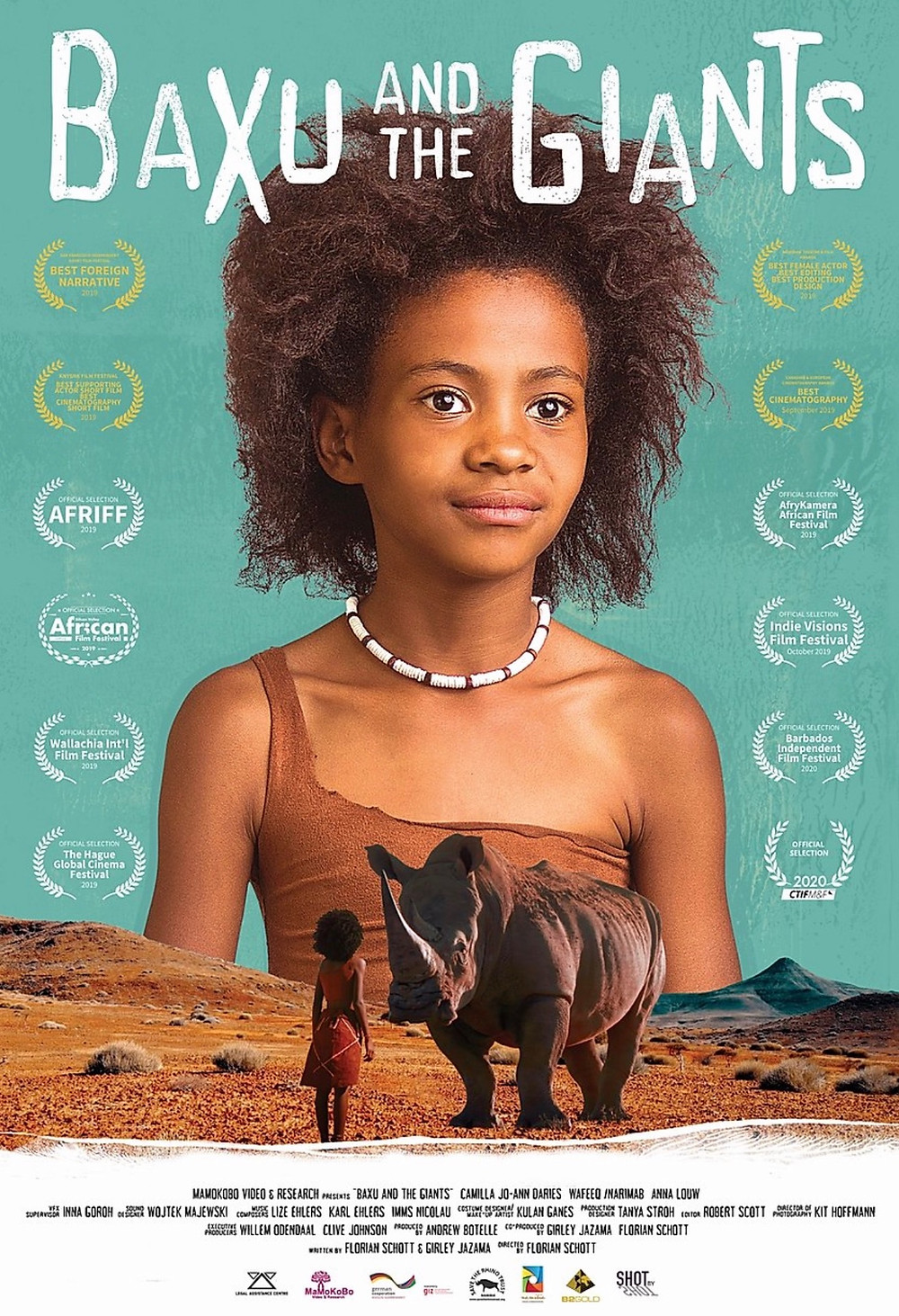 The main character, Baxu is placed in the centre of the this film poster, behind her is a turquoise background. Below her stands a smaller image of herself with a rhino standing on red-orange soil.