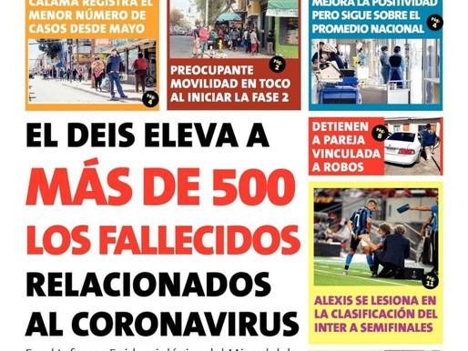 TITULARES DE LOS PRINCIPALES DIAROS DE LA REGION