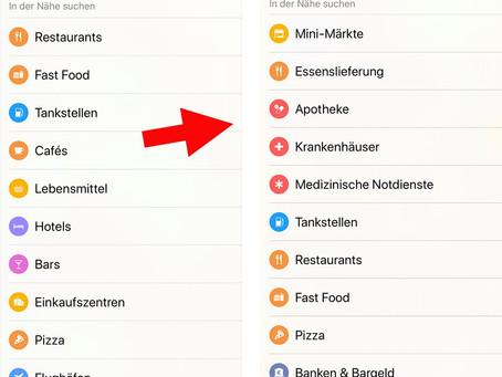 Apples Karten-App priorisiert Suche nach Liefer- und Medizindiensten