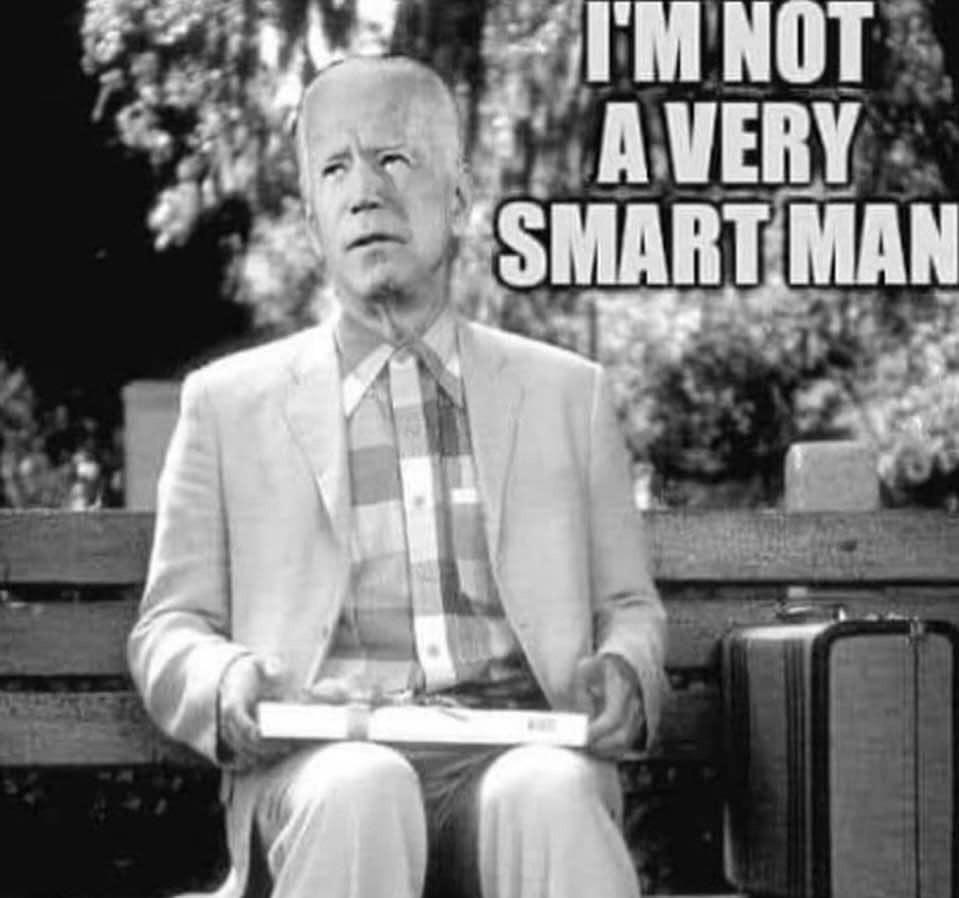 Joe Biden - I'm not a very smart man. Forest Gump Meme